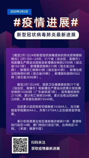 紫色大气疫情进展新型冠状病毒手机海报